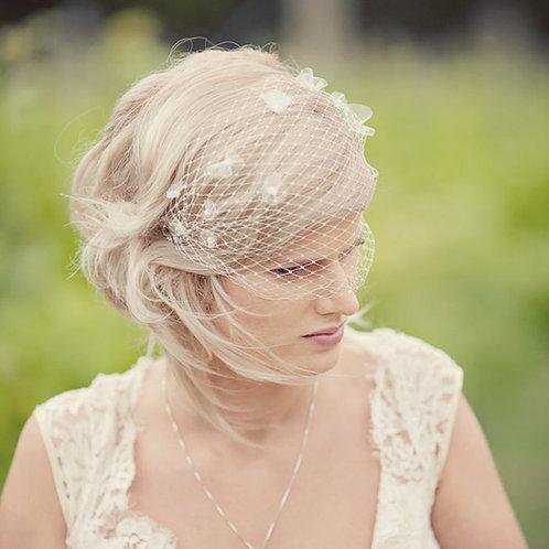 Handmade Flower Beaded Birdcage Wedding veil