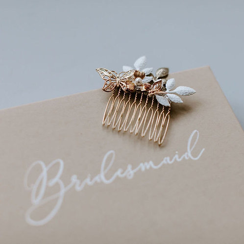 Butterfly Bridal Or Bridesmaid Hair Comb, Gold or Silver