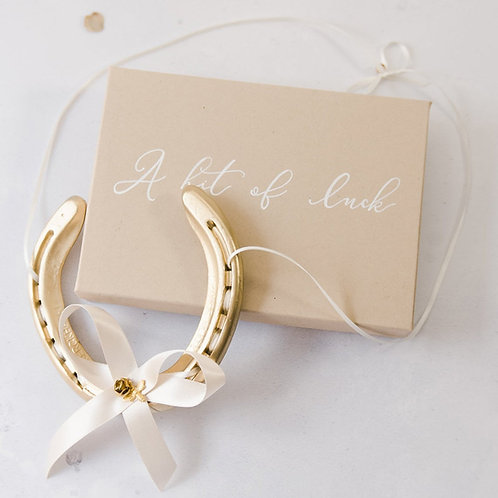 Letterbox Friendly Personalised Gold Bee Real Lucky Wedding Horseshoe Gift