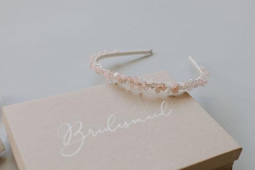 Rose Quartz and Clear Quartz Beaded Crystal Headband Crown, Rose Quartz Tiara, B