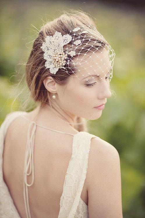 Vintage Pearl Brooch Headpiece Birdcage Wedding Veil