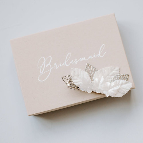 Ivory And Silver or Gold Bridal or Bridesmaid Leafy Hairslide