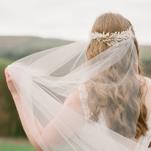 Draped back soft tulle veil- various lengths elbow to cathedral