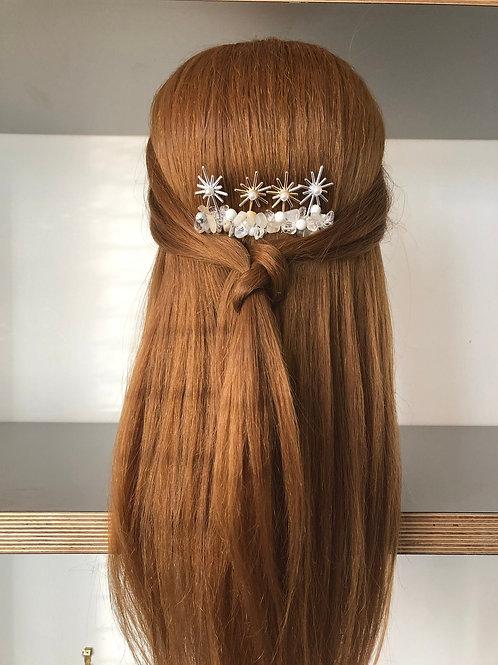 Celestial Moonstone and Quartz Bridal or Bridesmaid Haircomb