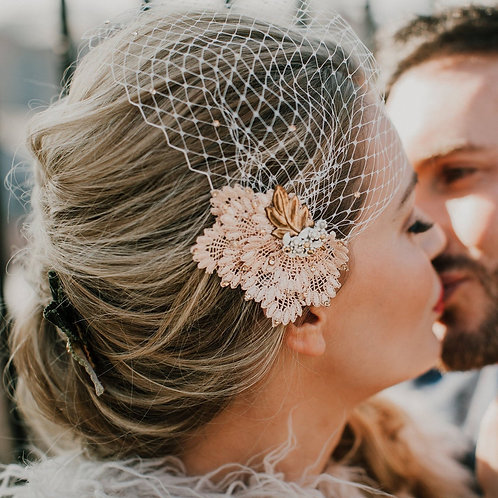 Blush Lace And Rose Gold Birdcage Bridal Veil