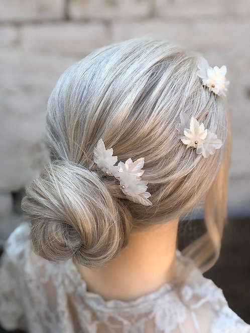 Ivory Frosted Leaf Mini Bridal Or Bridesmaid Hair comb Hair accessory