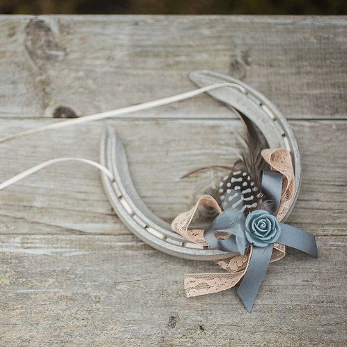 Personalised Letterbox friendly Blush and Grey Rose Lucky Wedding Horseshoe Gift