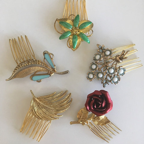 Vintage Upcycled brooch Hair comb