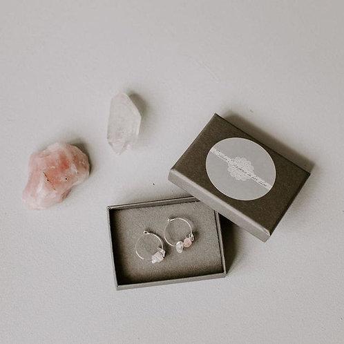 Silver Plated Semi Precious Crystal Chipped Earrings in Rose quartz Clear Quartz