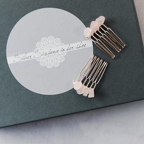 Pair of Rose Quartz Bridal hairpins Haircombs, semi precious crystal hairpins