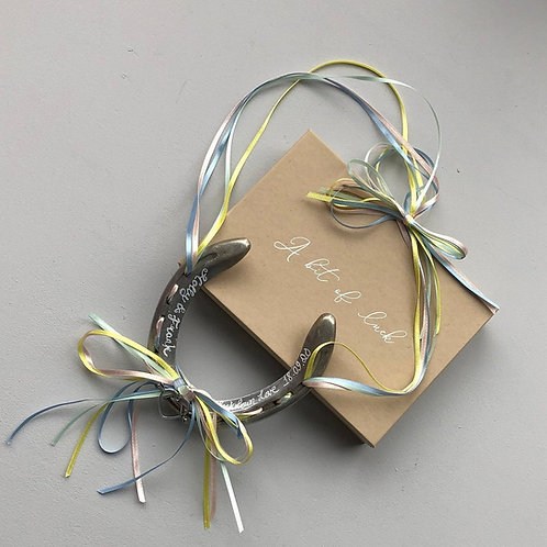 Personalised Pastel Rainbow Ribbon Lockdown Love Wedding Horseshoe Gift Annivers