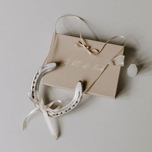 Personalised Letterbox friendly Rose Quartz Moonstone Crystal Lucky Horseshoe We