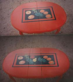 Fruit on orange table