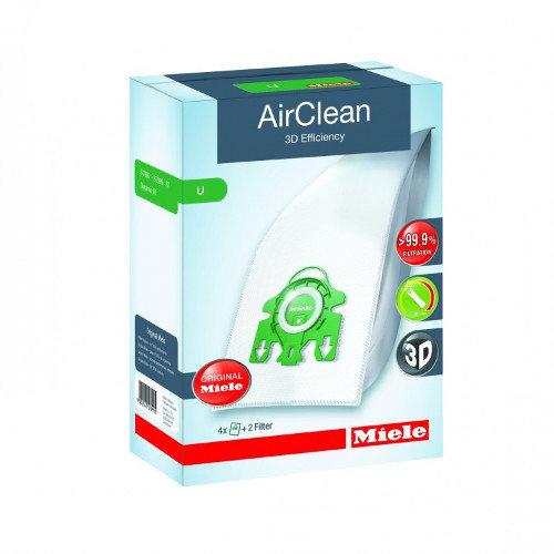 Miele Type U AirClean 3D Efficiency Vacuum Bags 4 Bags & 2 Filters