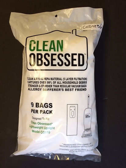 Clean Obsessed CO202 Ltwt Upt HEPA Filter Bags 9/pk