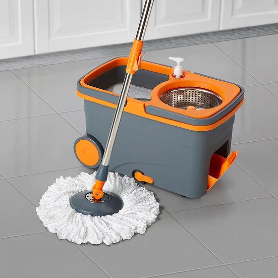 Casabella Spin Cycle Mop w/ Bucket Graphite/Orange CB-85333