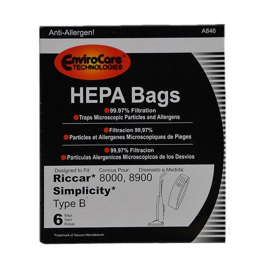 Riccar 6Pk HEPA Bags 8000/8900