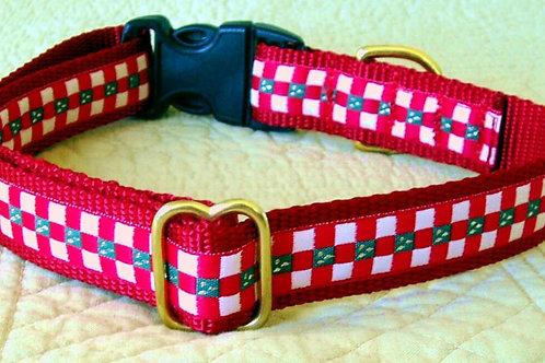 Christmas Checks Holiday Dog Collar (Red Green White)