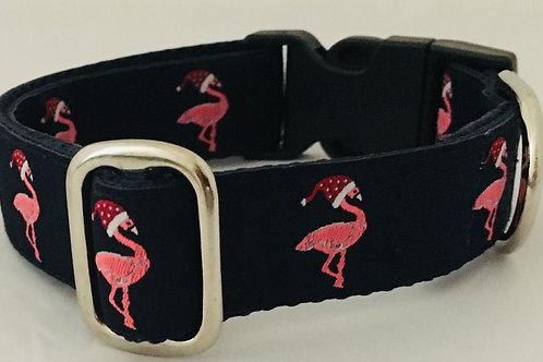 Christmas Flamingo Dog Collar