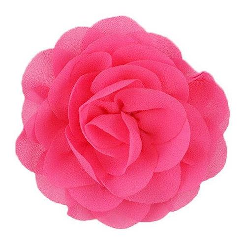 "3"" Neon Pink Chiffon Rose Flower Dog Collar Accessory"