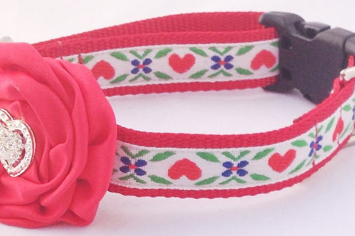 Red Hearts and Daisies Dog Collars