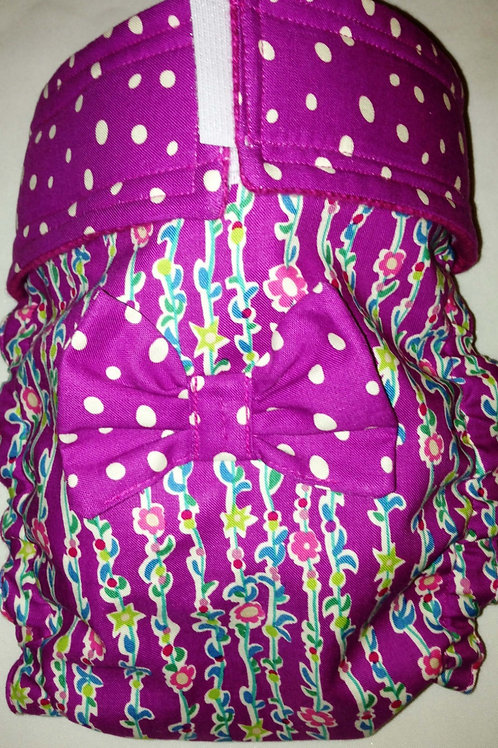 Magenta Spotty Dot and Climbing Vine Quick Ship Dog Diaper Panties $35.50+