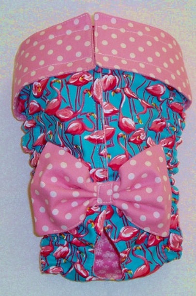 Fancy Pink Flamingos and Dots Quick Ship Dog Diaper