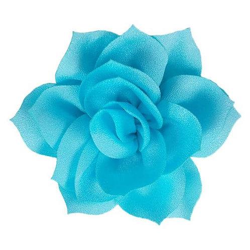 "4"" Aqua Satin Lotus Flower Dog Collar Accessory"