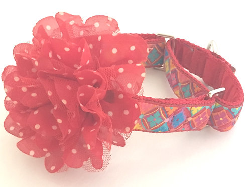 Antwerp Flowers Red Dog Collar $25+