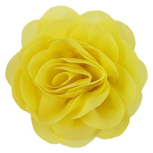 "3"" Yellow Chiffon Rose Flower Dog Collar Accessory"