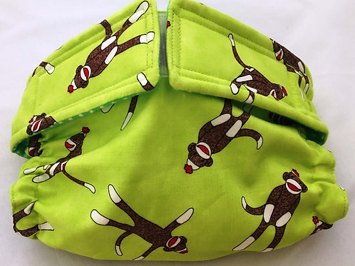 Sock Monkeys On Green Quick Ship Dog Diapers Panties Britches