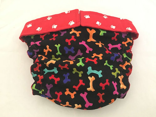 Male Dog Colorful Bones and White Paws Custom Dog Diapers Panties $3