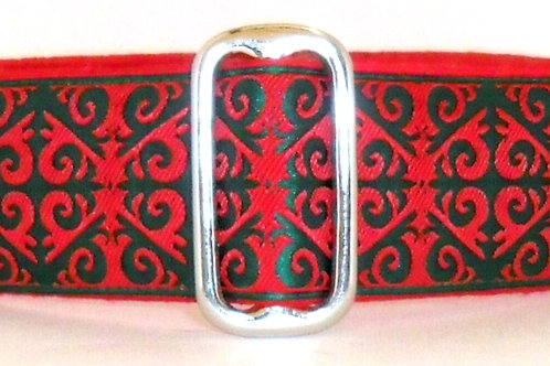"""1.5"""" Red and Green Arabesque Dog Collar"""