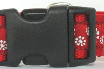 Red Snowflakes Jacquard Ribbon Trim Holiday Dog Collar