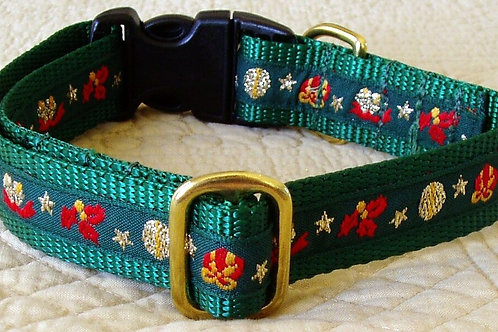 Gilded Green Christmas Packages Dog Collar