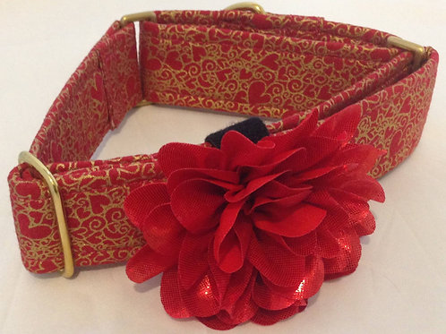 Gilded Red Hearts Dog Collar $25+