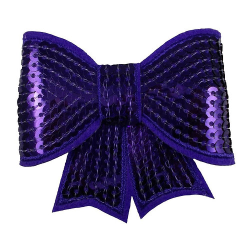 """3"""" Purple Sequin Bow with Tails"""