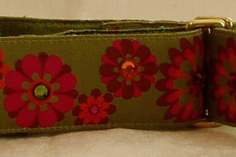 Green Carnaby Retro Blooms Dog Collar $30+