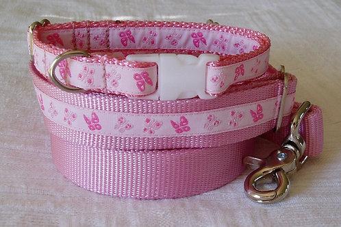 Pink Flutterflies Dog Collar