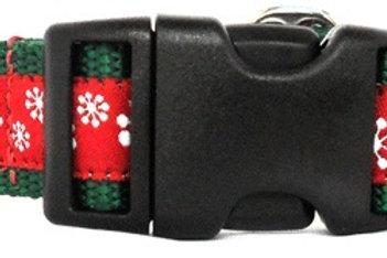 Red Snowflakes on Jacquard Ribbon Trim on Green Webbing Holiday Dog Collar