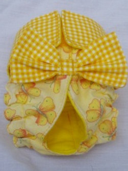Fancy Yellow Gingham and Butterflies Quick Ship Dog Diapers Panties Britches