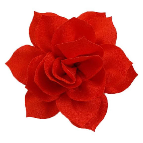 "4"" Red Satin Lotus Flower Dog Collar Accessory"