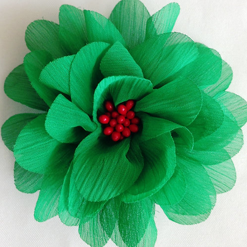 """4"""" Green and Red Christmas Flower"""