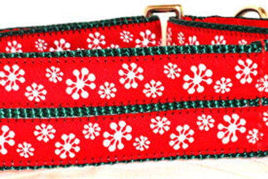 Red Snowflakes Holiday Dog Collar
