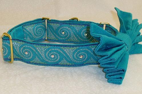 Aqua Mosaic Wave Dog Collar $35+