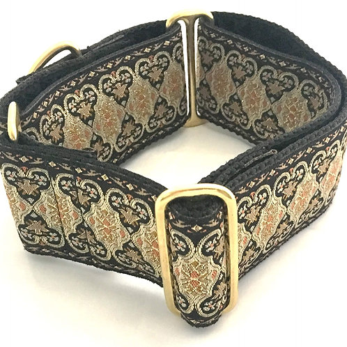 Black Gold & Tangerine Metallic Martingale Dog Collar $35+