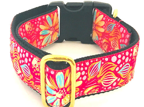 Red Meadow Blooms Dog Collar $30+