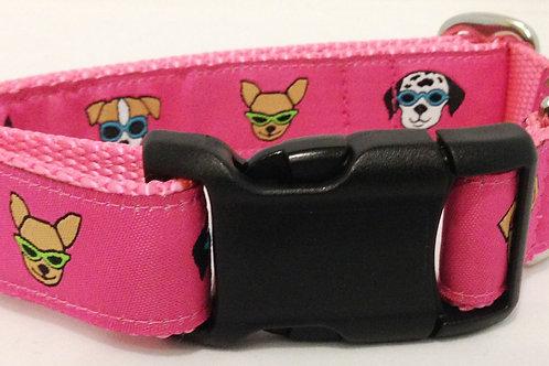 Pink Sunglass Dogs Dog Collar