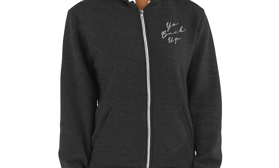 Yo Back Up Embroidered Unisex Zip Up Hoodie - American Apparel F497W