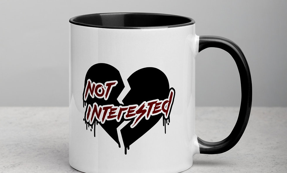 Not Interested Emo Heart Mug with Color Inside One-Sided